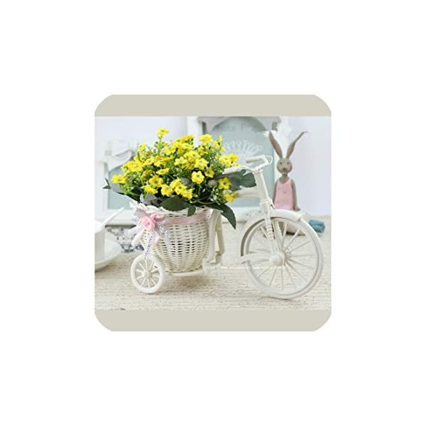 Rattan Bike Vase with Silk Flowers Colorful Mini Rose Flower Bouquet Daisy Artificial Flores for Home Wedding Decoration,B05