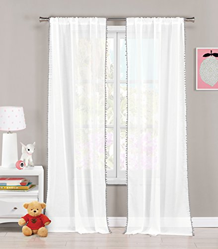 - Set of Two (2) Sheer Pole Top Window Curtain Panels: Pure White with Gray pom-poms, 76