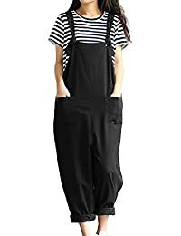 Womens Casual Loose Cotton Bib Baggy Overalls Jumpsuit...
