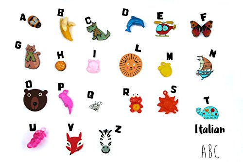 Alphabet Language Italian (Multilingual ABC trinkets by TomToy: French/ German/ Hebrew/ Italian/ Russian/ Spanish language, Alphabet box objects, 1.5-3cm, 1 object per letter (Italian))