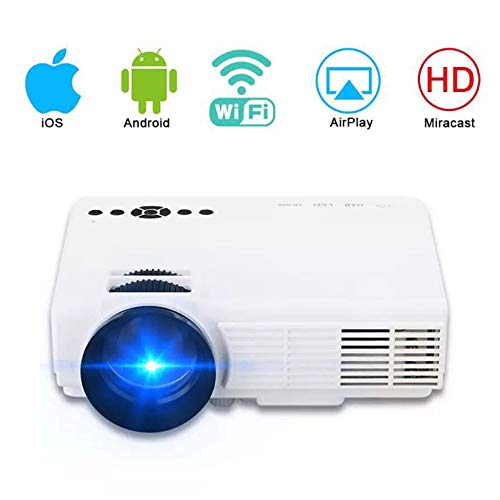 Video Projector, 1080P HD Home Entertainment Portable LED Projector, Support WiFi, Suitable for Children's Gifts, Video TV Movies, Party Games,White
