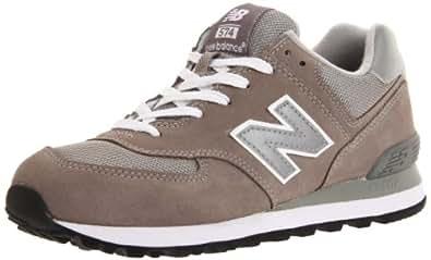 New Balance Men's M574, Gray/Silver/White-7.5