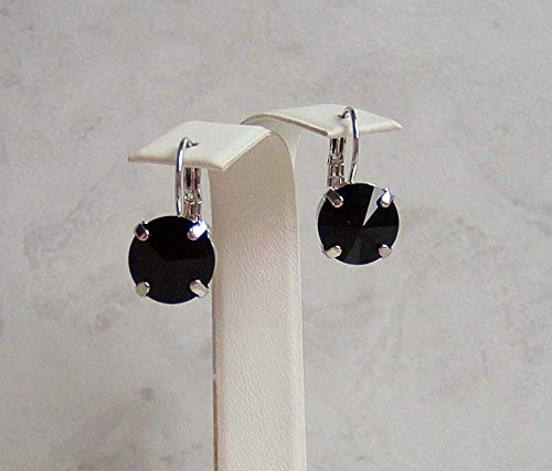 Black Round Crystal Leverback Earrings Simulated Spinel Made With Swarovski Gift Idea ()