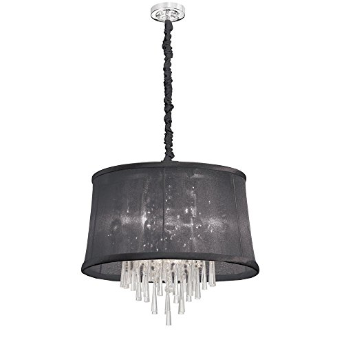 (Dainolite Lighting JUL226-PC-115 Clear Crystal Pendant with Organza Black Shade, 6-Light, Polished Chrome)