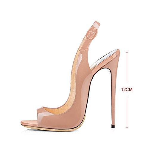 Heel Fashion Women`s Sandals Slingback Peep Toe Nude Onlymaker PU High Yp5wW