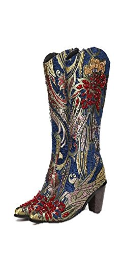 Boots metalic print red brocade gold and Blue w6RpqafP6