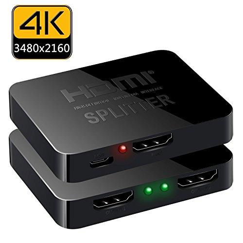 TFHEEY HDMI Splitter 1 x 2, 1 Entrada 2 Salida HDMI Amplificador Switcher Caja Hub Soporte 4KX2K 3D 2160P 1080p (una Entrada...