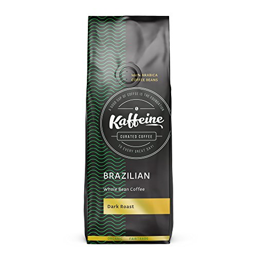 Kaffeine Koffee Organic Brazillian Bourbon Santos Dark Roast Whole Bean Specialty Gourmet Coffee (2 LB)