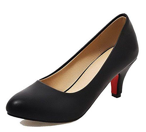 Amoonyfashion Dames Ronde Neus Kitten-hakken Pu Stevige Pumps-schoenen Zwart