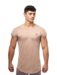 Jed North Ripped Capped Sleeve Tee Fitted T Shirt Drop Sleeve