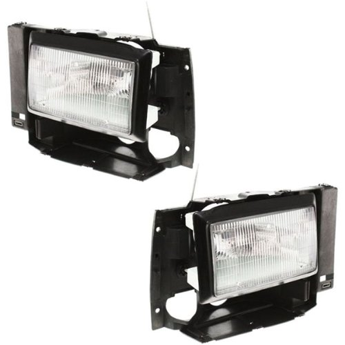 Ford Bronco Truck Headlight (1989-1990 Ford Bronco II, 1991-1994 Explorer & 1989-1992 Ranger Pickup Truck Headlight Headlamp Head Light Lamp Pair Set: Left Driver AND Right Passenger Side (1989 89 1990 90 1991 91 1992 92 1993 93 1994 94))