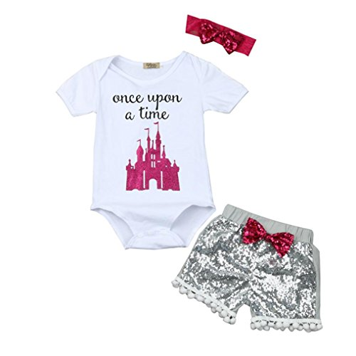 TRENDINAO 2017 New Newborn Baby Girls Boys Letter Tops Romper Sequin Shorts Pants Outfits Clothes Set (0-3 Months, #B)