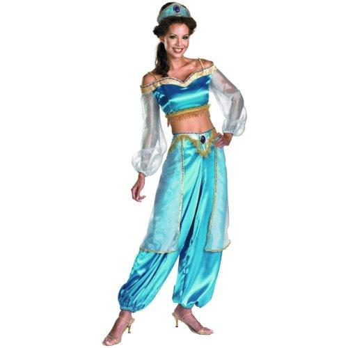 Disguise Women's Disney Aladdin Jasmine Sassy Prestige Costume, Green, Medium (Broadway Aladdin Costume)