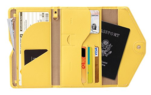 Zoppen Multi-purpose Rfid Blocking Travel Passport Wallet (Ver.4) Tri-fold Document Organizer Holder, #22 Primrose Yellow