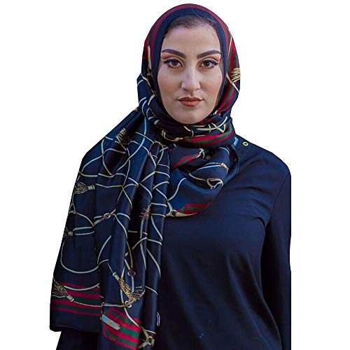Covered Bliss Vintage Style Silk Scarf for Women, Elegant Silk Head wrap Scarf for Women - Black