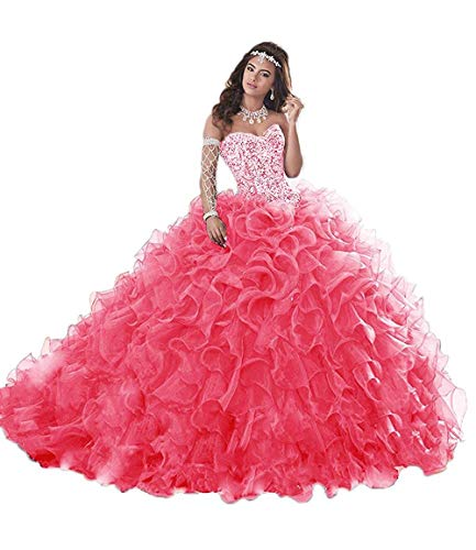 Wanshaqin Women's Heavy Beaded Sweetheart Ball Gowns Dresses Organza Ruffles Quinceanera Dresses for Sweet 16