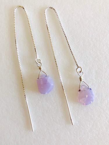 Lavender Moon Quartz Earrings, Gemstone Threader Earrings, Dainty Lavender Nuggets, Trendy Threaders, Bridal Sterling Silver. ()