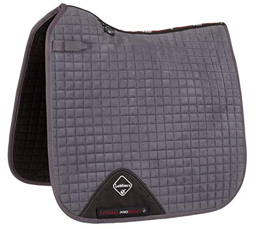 (Le Mieux Prosport Suede Dressage Saddle Pad (Grey, Large))