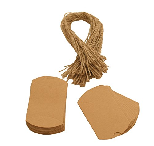 (100pcs Small Gift Boxes Kraft Paper Pillow Box with Twine for Party)