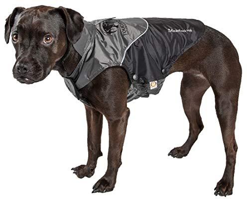 (TOUCHDOG 'Subzero-Storm' Waterproof 3M Reflective Pet Dog Coat Jacket with Heavy-Duty Velcro w/ Blackshark Technology, Medium, Black, Grey)