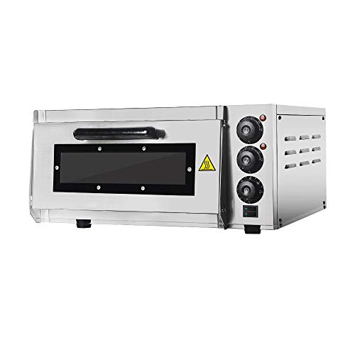 Professionele pizza-oven met 400 x 400 mm chamotsteenback surface, gastro steenoven voor pizza,bread and pastry, 2000 W…