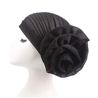 Fxhixiy Women Elastic Glitter Big Flower Turban Beanie Head wrap Hair Loss Chemo Cap Hat (Black)