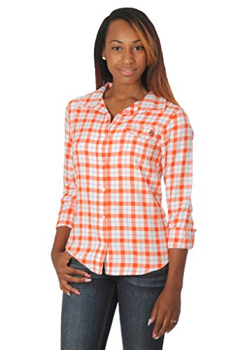 Long Sleeve Oklahoma Embroidered (UG Apparel NCAA Oklahoma State Cowboys Women's Long Sleeve Button Down Plaid Shirt, Medium, Orange/Black)