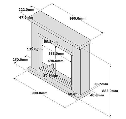 Tagu FM461-GR1 Cornice decorativa in legno Grigio Frode per caminetto elettrico da incasso Dimensioni LxPxH 99x25x88,3 cm
