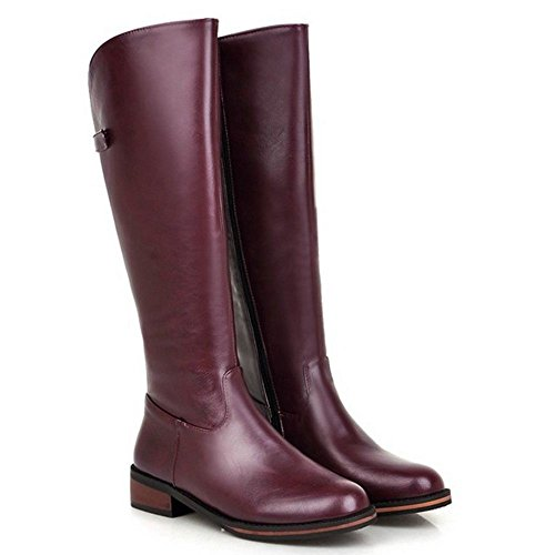 Taoffen With Zipper Purple Boots Long 1625 Women's qqFAwfC
