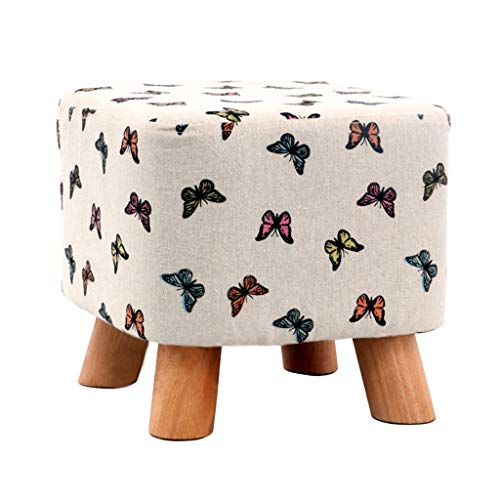 (HZTWS Sofa Stool Home Adult Shoe Bench Solid Wood Short Stool Fashion Bench Creative Sofa Stool Living Room Coffee Table Stool (Color : Butterfly))