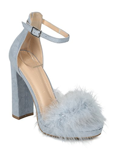 Women Faux Suede Feather Ankle Strap Block Heel Sandal-HK87 Wild Diva Collection - Blue Grey Faux Suede (Size: 7.0)