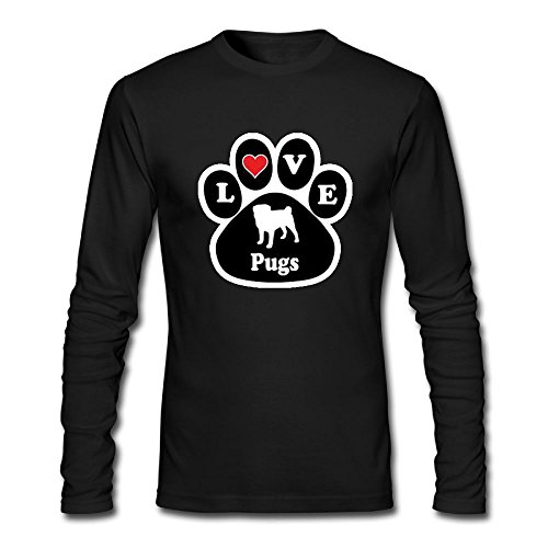 Men Love Pugs Dog Breed Paw Long Sleeve Athletic Cotton Round Neck - Africa Clothing South Versace