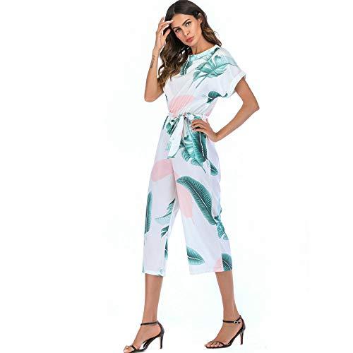color JKJHAH Pantalones Ocasionales Recogidos De con Picture Jumpsuit Manga Cordones Femeninos Corta Estampado Casuales 1qOS1w