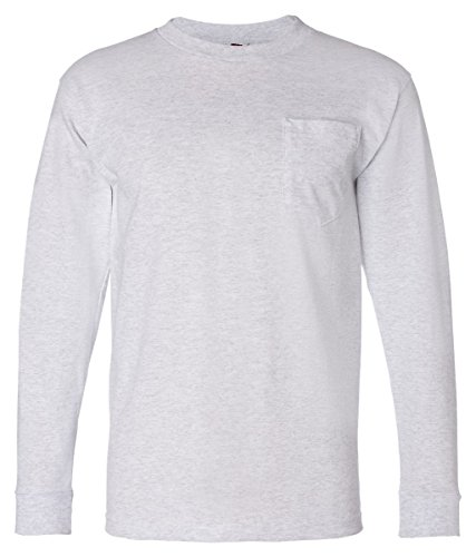 Adult Long-Sleeve Cotton Tee with Pocket (Ash) (Medium) ()
