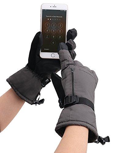 D Diana Dickson Men's Winter Waterproof Touchscreen Snowboard/Ski Gloves,Grey,L (Gray Glove Ski)