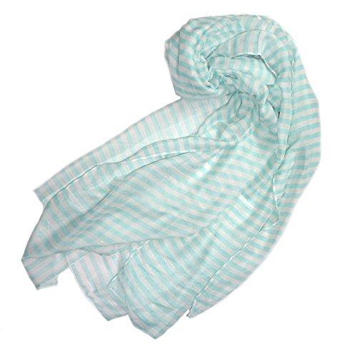 Scarf Shawl Wrap BRAIT Striped Design, Pastel Colors Stripes, Lightweight (light blue - Stripes Color Pastel