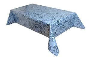MG Oilcloth-Tablecloth Washable Perla-Flower Blue-Black ( 509-06 ) - 330 X 140 Cm