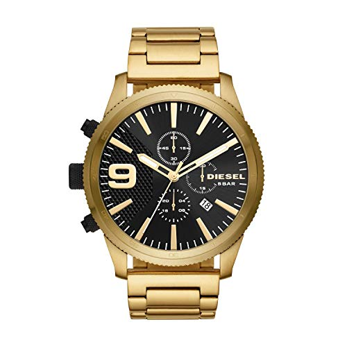 (Diesel Men's Rasp Chrono 50mm Analog-Quartz Watch with Stainless-Steel-Plated Strap, Gold, 25.75 (Model: DZ4488))