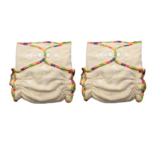 - Hemp / Organic Cotton Fitted Cloth Diapers (Includes 2 Inserts; Fits 7-25lbs) (2 Pack)