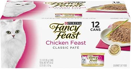 Purina Fancy Feast Grain Free Pate Wet Cat Food, Chicken Feast – (2 Packs of 12) 3 oz. Cans