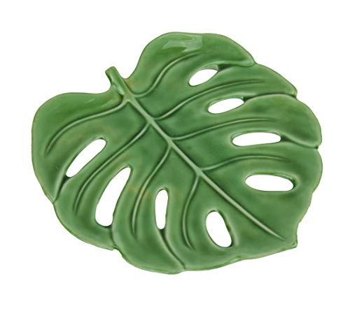 Things2Die4 Tropical Monstera Leaf Ceramic Decorative Plate