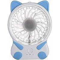 LEDMOMO USB Desk Fan Table Fan Portable Mini Fan (Cute Blue White Cat)