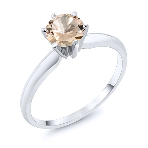 14K White Gold Peach Morganite Women's Engagement Solitaire Ring (0.60 Ctw Available in size 5, 6, 7, 8, 9)