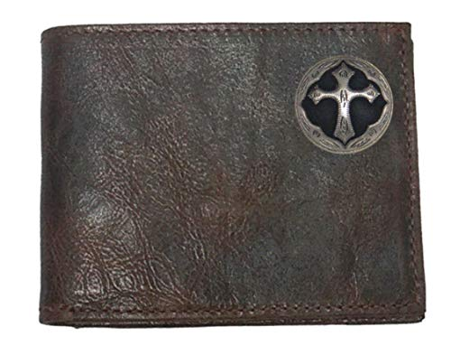 (Custom Ornate Cross Chocolate Bi-fold Harness Leather Wallet with Flip ID. Proudly made in the USA.)
