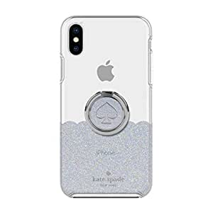 Kate Spade NY Gift Set: Ring Stand & Protective Hardshell Case for iPhone XS Max (Scallop Mermaid Glitter/Clear)
