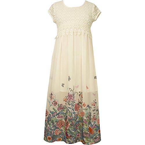 Bonnie Jean Little Girls 2T-6X Crochet to Chiffon Border Print Maxi Dress, Ivory,5