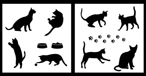Auto Vynamics - STENCIL-CATSET01-10 - Detailed Cats & Cat Accessories Stencil Set - Includes Many Different Cats & Paw Prints! - 10-by-10-inch Sheets - (2) Piece Kit - Pair of Sheets by Auto Vynamics