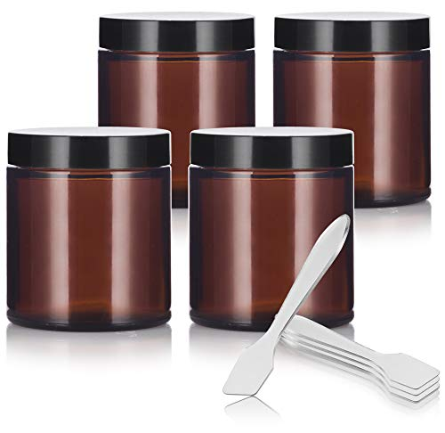 Sided Jar - 4 oz (4 Pack) + Spatulas ()
