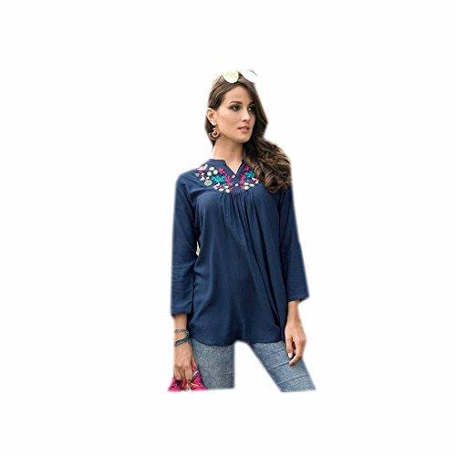 Multi Brodé Coton Dress Tunique Femmes Jayayamala Couleur Bleu Top Kurtis wcIq1Z6v