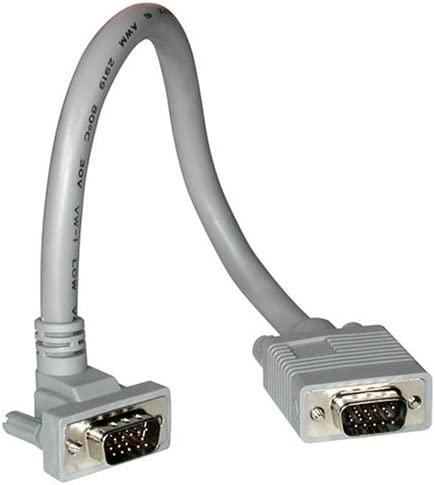 50 Feet, 15.24 Meters Premium Shielded HD15 SXGA M//M Monitor Cable with 90/° Upward-Angled Male Connector Gray C2G 52006 VGA Cable